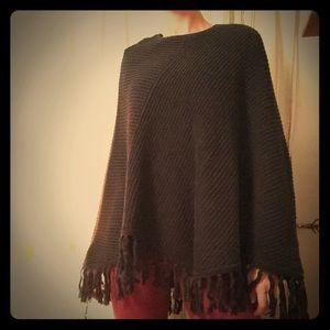 Evie black poncho, 100%cotton crochet